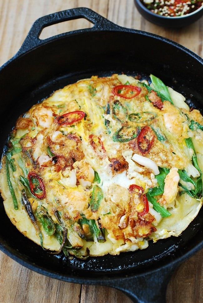 Pajeon - Crispy Korean seafood scallion pancakes!