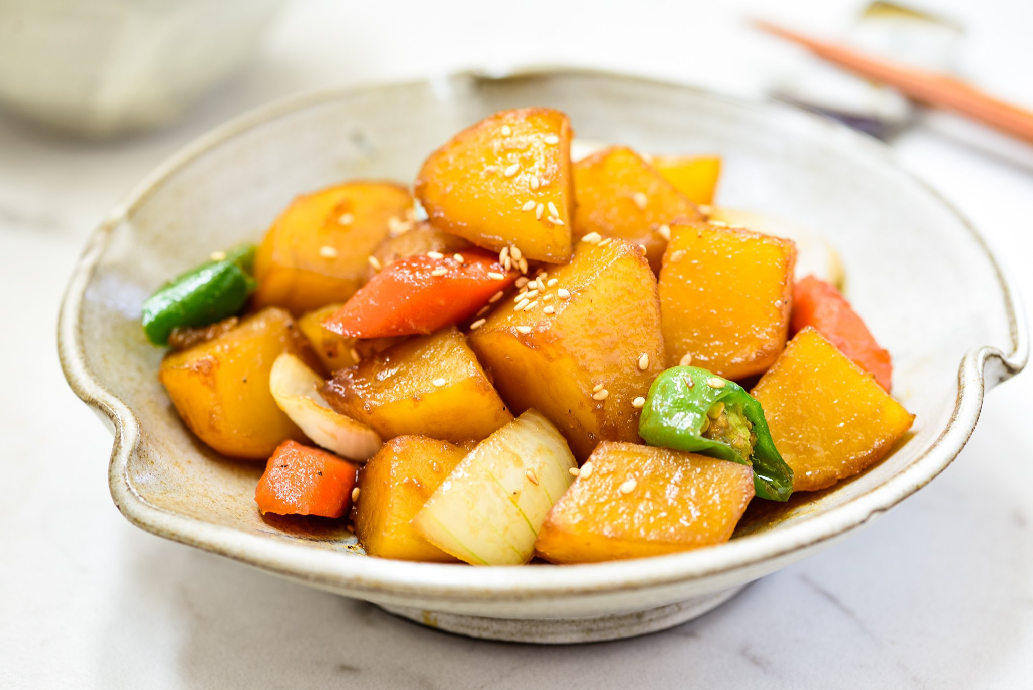 Korean soy braised potatoes