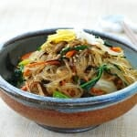 Japchae (Stir-Fried Starch Noodles with Beef and Vegetables)