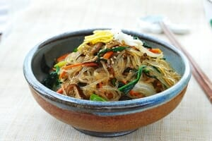 Korean starch noodles with beef and vegetables