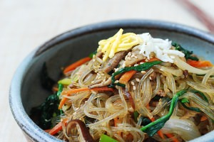 Japchae (Korean Stir-Fried Starch Noodles with Beef and Vegetables)