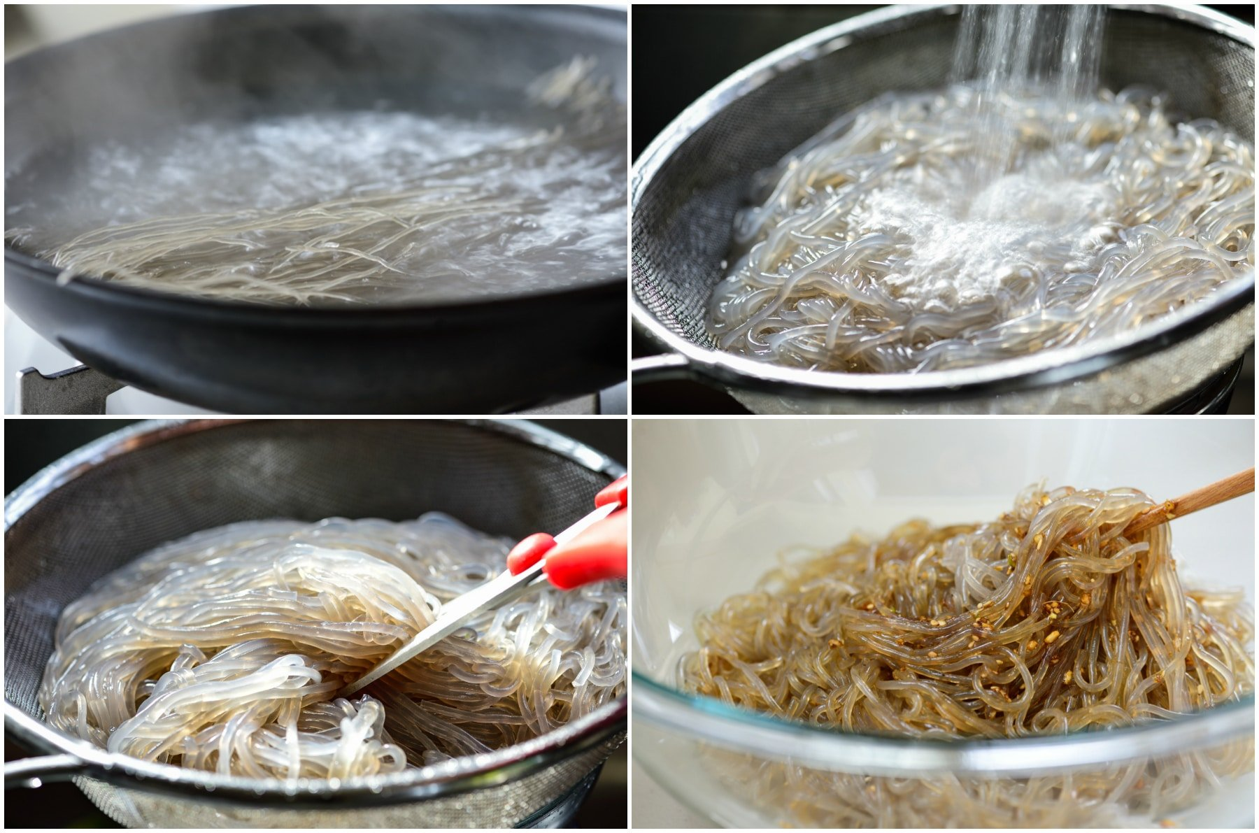 4 photo-collage for boiling, rinsing, draining and marinating starch noodles
