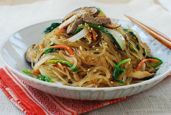 Japchae recipe but the main ingredient of this classic dish is korean sweet potato starch noodles dangmyeon also known as glass noodles the chewy and springy noodles forumfinder Images