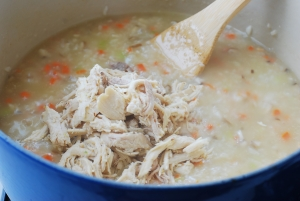 Shredded chicken in the Korean porridge
