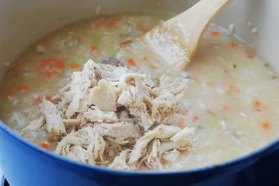 Shredded chicken in the Korean porridge