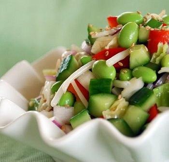 edamame salad 350x334 - Edamame Salad with Rice Vinegar Vinaigrette