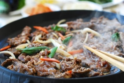 Bulgogi - Korean BBQ being cooked in a grill pan