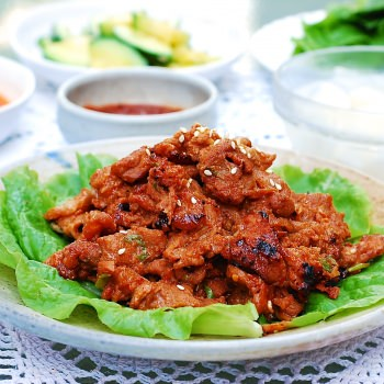 Thinly sliced pork marinated in a gochujang sauce