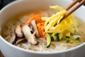 Korean noodle soup with toppings