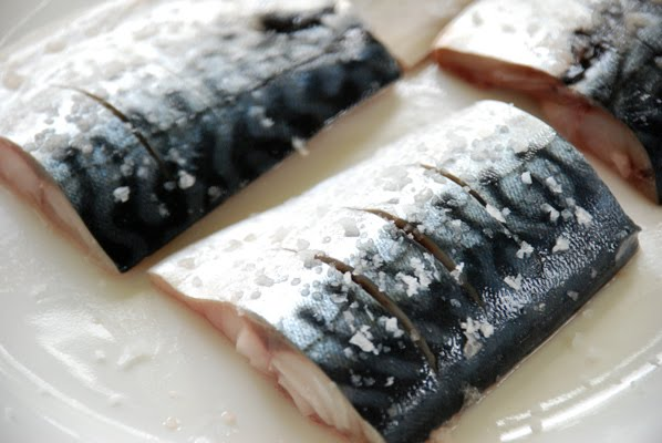 Mackerel pieces being salted for grilling
