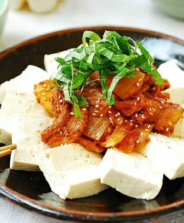 Kimchi strir fried with pork and served with tofu