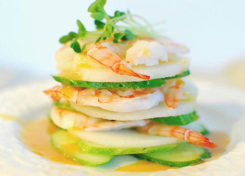 Korean-Style Shrimp Salad with Hot Mustard Dressing (Saewu Gyeoja Naengchae)