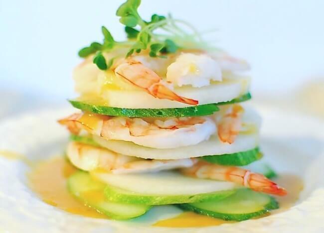 shrimp salad with hot mustard dressing