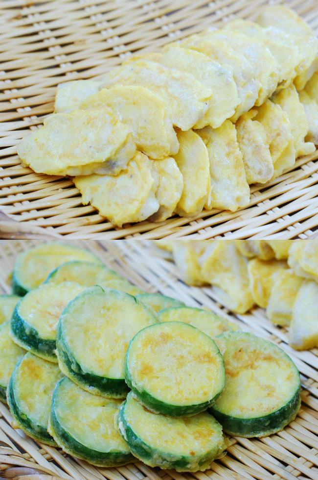 Modeumjeon (Zucchini, shrimp, and fish pan-fried in egg batter)