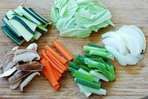Vegetables for jjamppong (Korean spicy seafood noodle soup)
