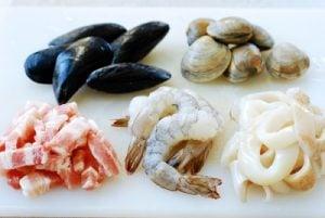 Pork and seafood for jjamppong (Korean spicy seafood noodle soup)
