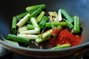 Aromatics for jjamppong soup