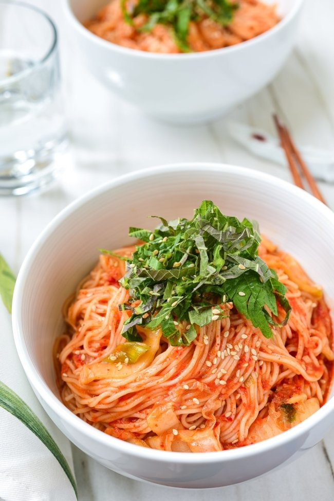 Red spicy cold noodles with kimchi