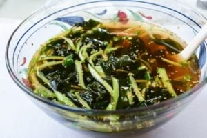 Cucumber and seaweed in a cold soup