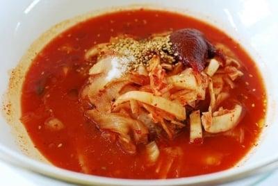 kimchi bibim guksu (spicy cold noodles)