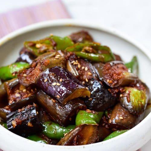 DSC1471 500x500 - Gaji Bokkeum (Spicy Stir-fried Eggplants)