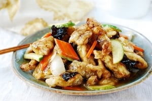 deep-fried pork in a sweet and sour sauce
