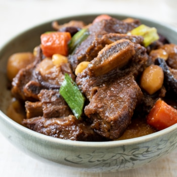 Korean braised beef short ribs in a bowl