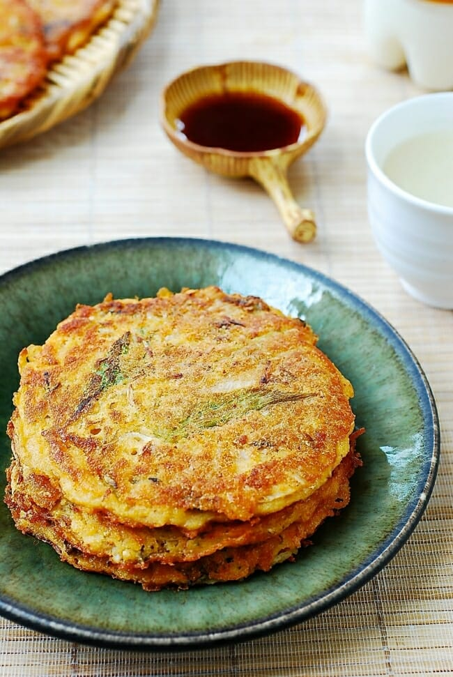 Nokdu jeon (Nokdu bindaetteok) - Korean savory pancake made with mung bean batter