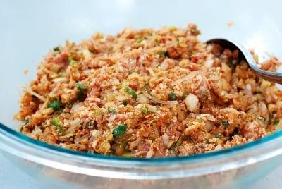 Kimchi dumpling filling