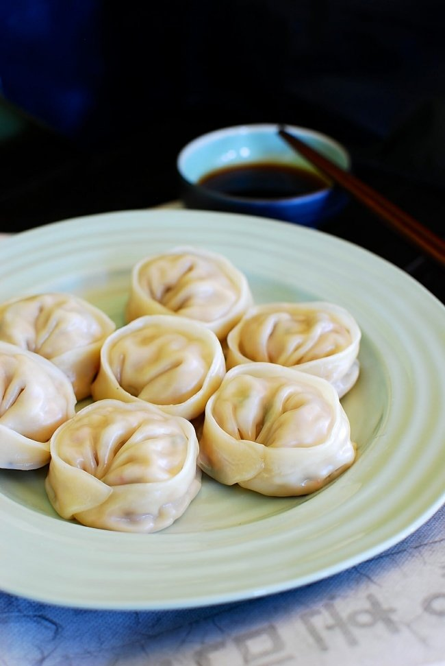 Korean dumplings made with kimchi and meat