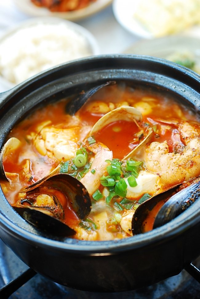 Korean stew made with silken tofu