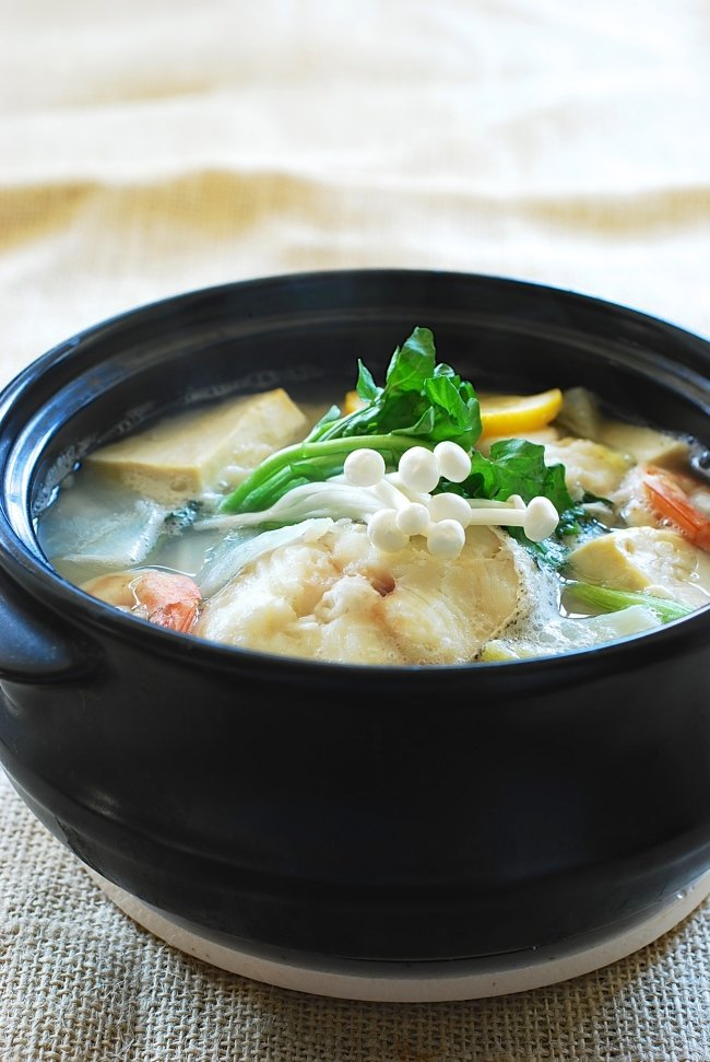Korean cod fish stew in an earthen ware