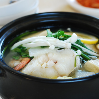 Korean cod fish stew in an earthen ware