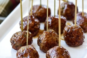 Cocktail meatballs served on bamboo picks