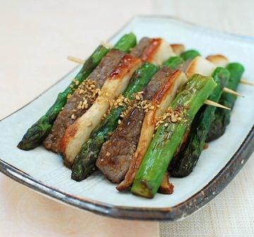 sanjeok recipe 360x335 - Sanjeok (Skewered Beef with Asparagus and Mushrooms)