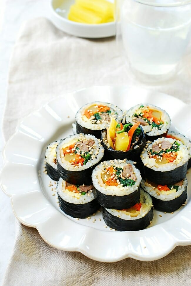 Korean seaweed rice rolls with beef and vegetables