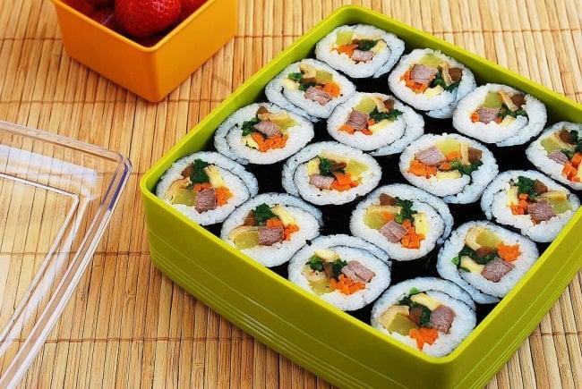 Gimbap photo e1454171342669 - Gimbap (Korean Seaweed Rice Rolls)