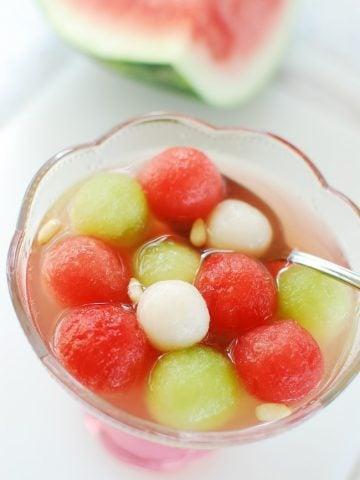 Korean watermelon punch in a bowl