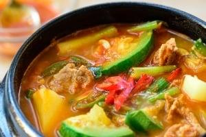 Korean gochujang stew with zucchini and potato