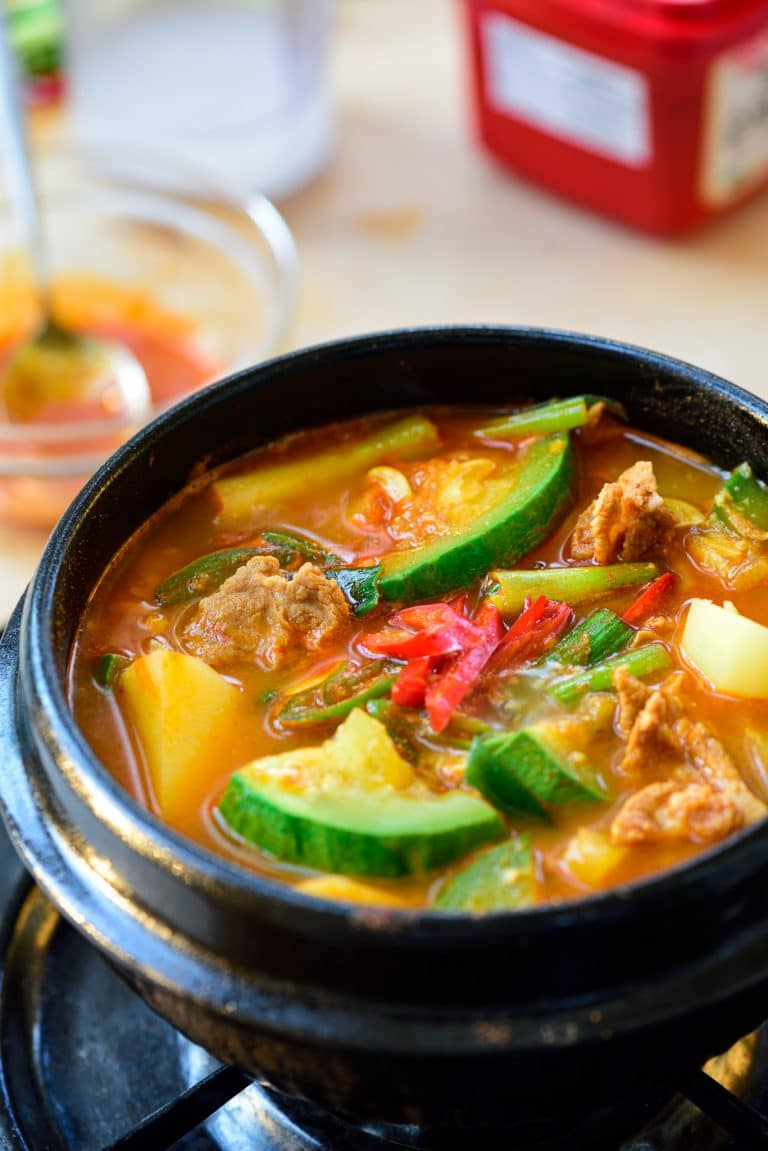 Korean gochujang stew with zucchini and potato