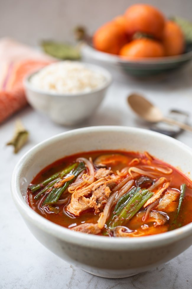 Red spicy Korean soup made with leftover turkey