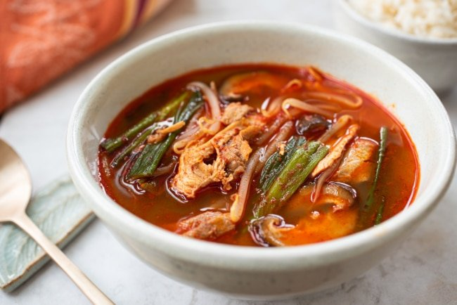 Red spicy Korean soup made with turkey leftovers