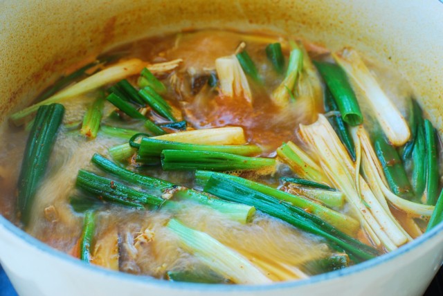 Korean spicy turkey soup with scallions