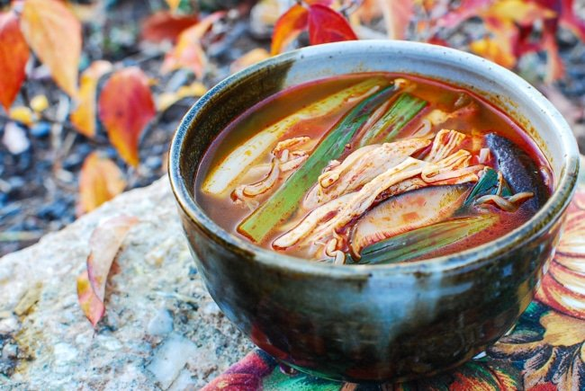 Korean spicy soup with leftover turkey