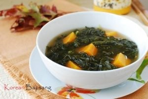 Kale doenjang soup 300x200 - Kale Doenjang Guk (Korean Soybean Paste Soup with Kale)