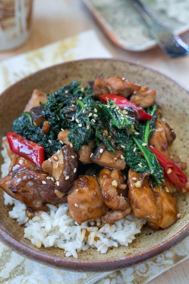 Chicken stir fry with vegetables served in a brown bowl
