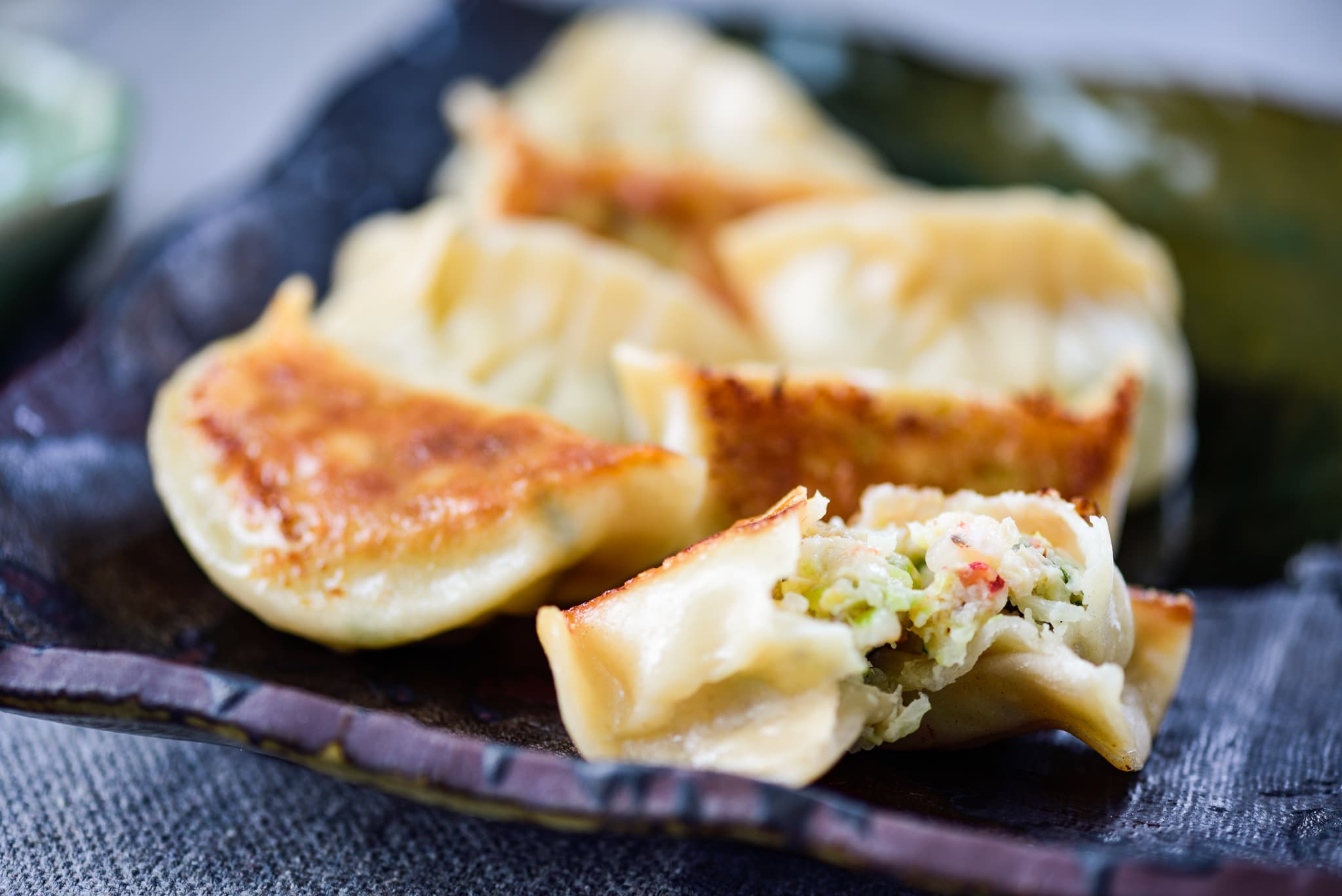 6 Pan-fried shrimp dumplings with crispy browned bottom