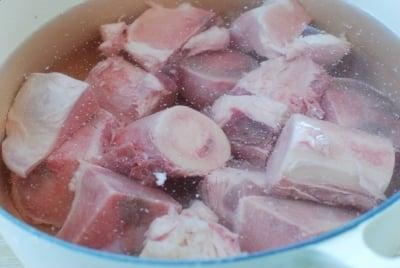 Beef bones soaked in water
