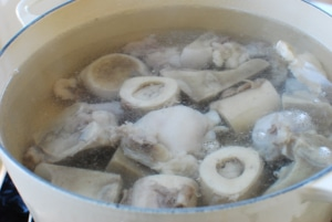 Ox bones in a pot of water