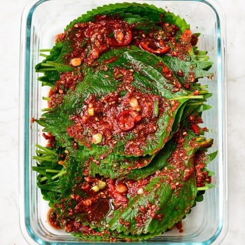 DSC1681 3 500x500 - Kkaennip Kimchi (Perilla Kimchi)